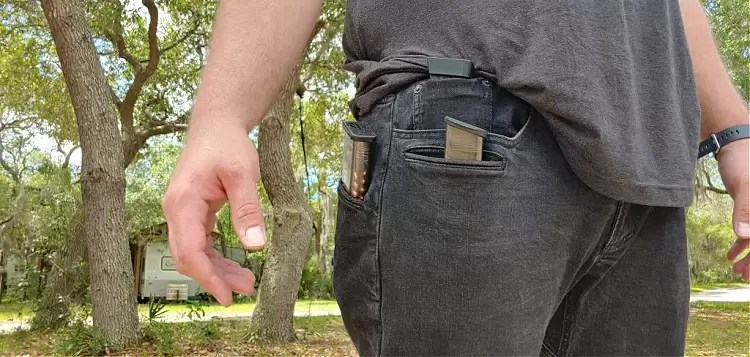 magazines in pockets of Viktos jeans.