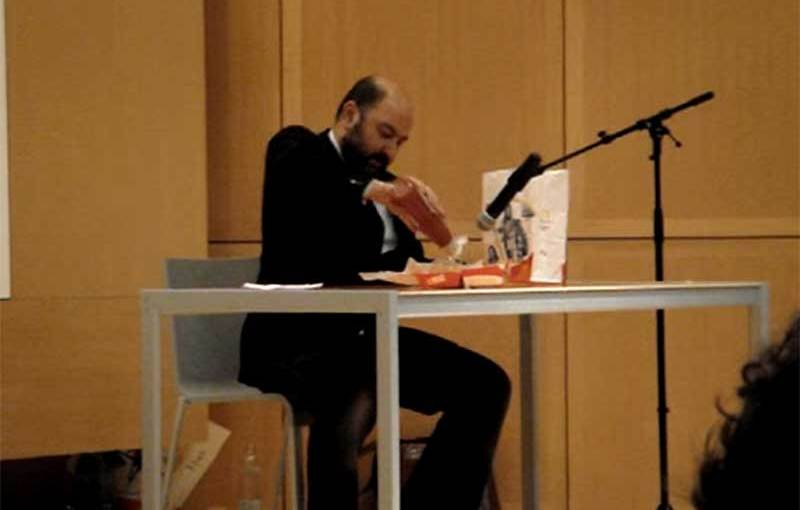 Pierre Bismuth Eats A Hamburger performance video capture