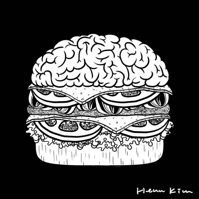 illustration of a burger with brain