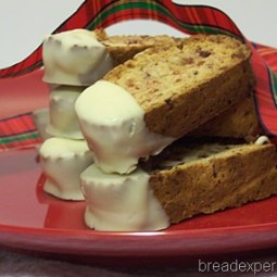 Cranberry-Spice Biscotti dipped in White Chocolate: Mellow Bakers