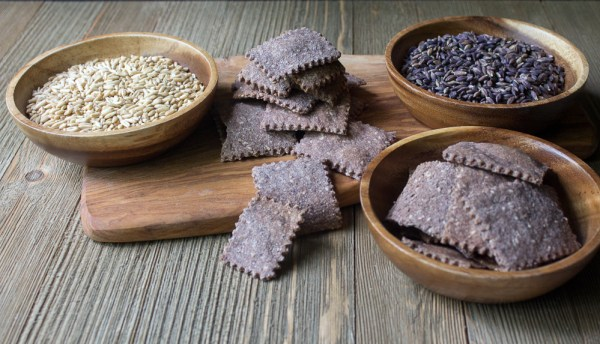 Purple Crackers made with freshly milled oat and purple barley grains