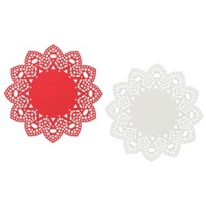 Now Designs Red White Metal Doily Trivets Set of 2