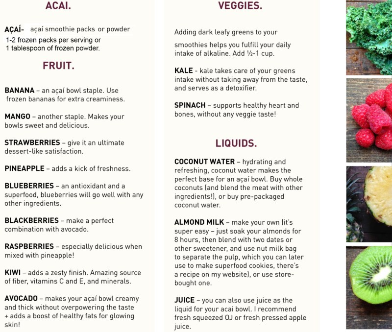 how to make acai bowl ingredients
