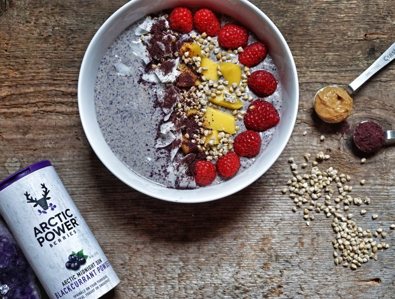 Raw Buckwheat Porridge Recipe with Arctic Berries Blackcurrant Powder