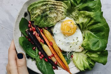 Savory breakfast bowl with Bowery Farming greens