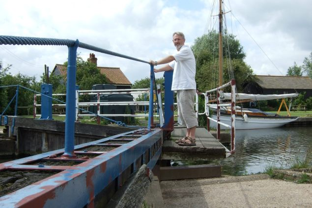 Gary Allman standing on Heybridge Basin Lock Gates - June 20, 2007
