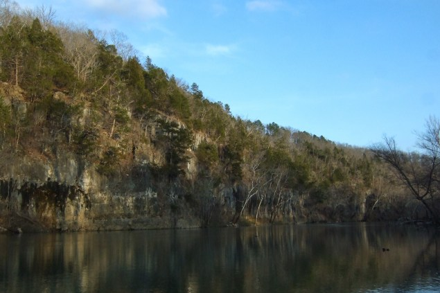 Bluffs on the Meramec River at Meramec State Park, Missouri. Copyright © 2011 Gary Allman, all rights reserved.