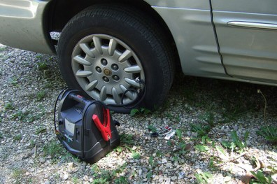 Flat tyre – Tower trail head, Hercules Glades. Copyright © 2011 Gary Allman, all rights reserved.