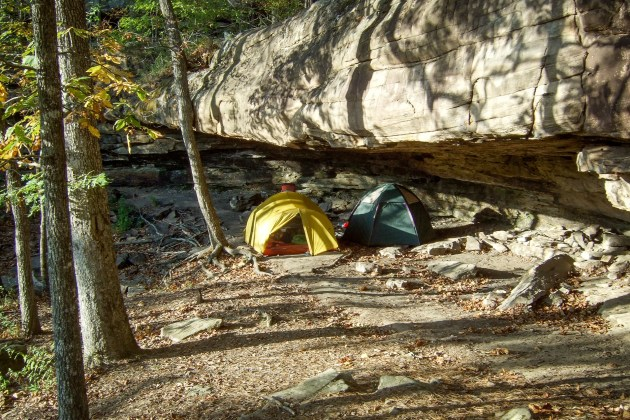Campsite near Hawksbill Crag, Arkansas. Copyright © 2011 Gary Allman, all rights reserved.