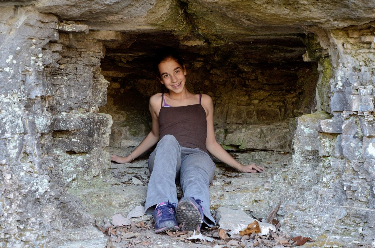 Lanie in Ginger's 'secret cave'. Copyright © 2012 Gary Allman, all rights reserved.