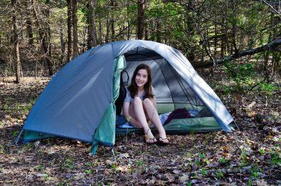 Lanie enjoying her tent