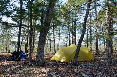 Camped near the top of the bluff