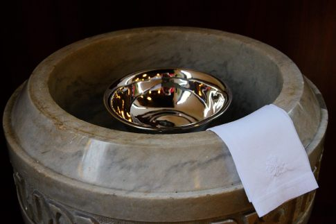 Fount all ready for a baptism.