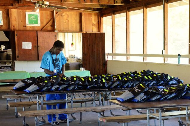 Checking all the camp bags ready for all the campers