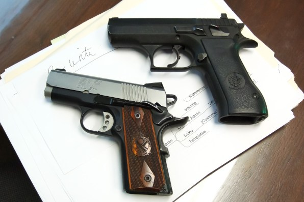 Desert Eagle (9mm) and 9mm 1911. Copyright © 2014 Gary Allman, all rights reserved.