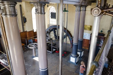 Flywheel and various connecting rods the beam engine at Eastney, Portsmouth