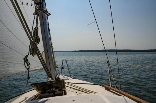 Heading south, sailing on Stockton Lake, Missouri