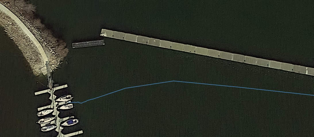 Looks like my GPS is a few feet out and/or the pontoon's moved. The accuracy of the GPS is supposed to be around 50' by eye this is around 6'. August 17, 2015 | www.breakfastinamerica.me