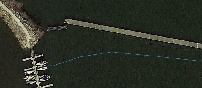 Looks like my GPS is a few feet out and/or the pontoon's moved. The accuracy of the GPS is supposed to be around 50' by eye this is around 6'. August 17, 2015   www.breakfastinamerica.me