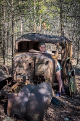 """Lanie in the 1930s Dodge """"Humpback"""" Panel Van at Busiek. Copyright © 2017 Gary Allman, all rights reserved."""