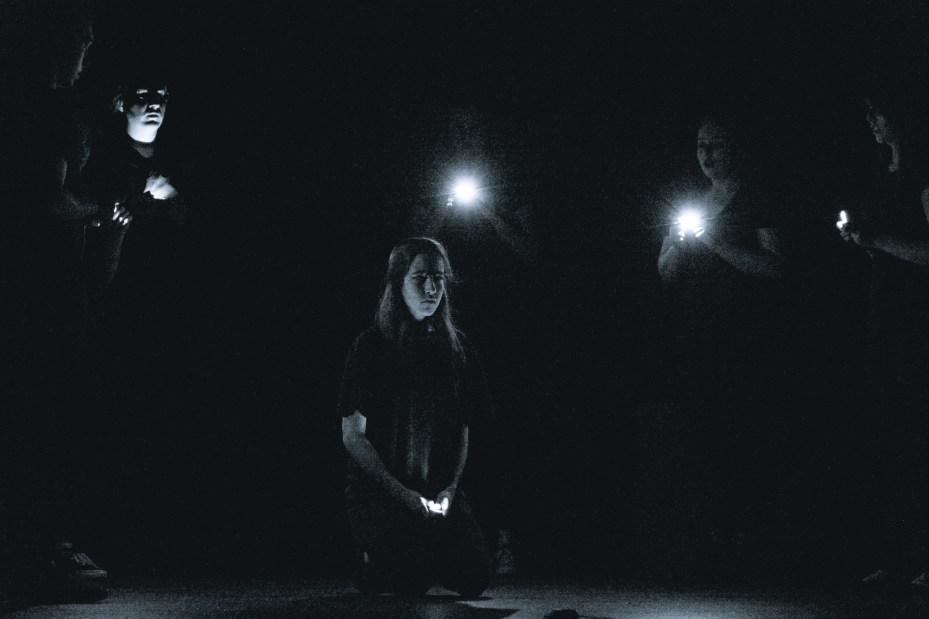 A large part of the performance took place in almost total darkness.