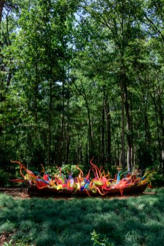 Photograph of Fiori Boat. Artist: Dale Chihuly. Chihuly in the Forest. Crystal Bridges Museum of American Art.
