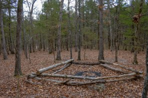Now that's a fire ring! But not something you are supposed to do in a wilderness... Nice spacing on the trees and very little underbrush too. A lot of horses must stop here to keep it trimmed back like this.