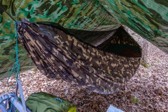 My new Chameleon hammock all ready for the night. Nice camo! Copyright © 2018 Gary Allman, all rights reserved.