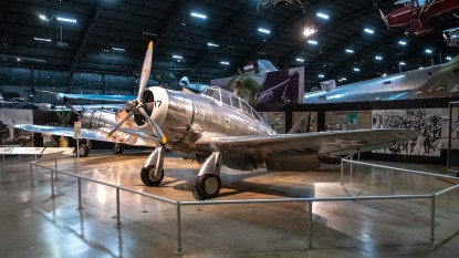 Seversky P-35A, Curtiss P-36A Hawk in the background, at the National Museum of the US Air Force.
