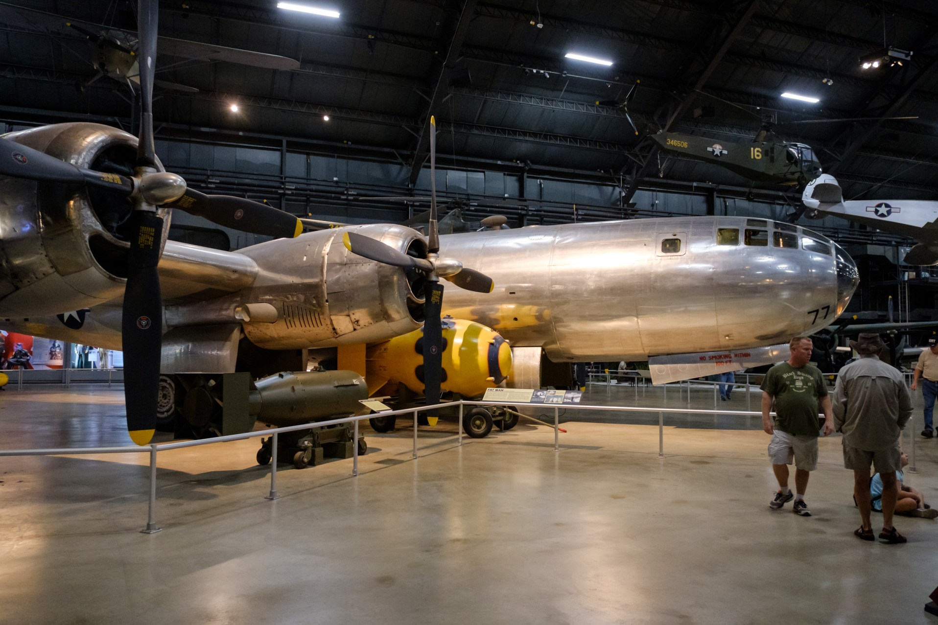 """Boeing B-29 Superfortress """"Bockscar"""" with Fat Man Atomic Bomb, at the National Museum of the US Air Force."""