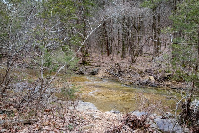 Creek Crossing #6 - Long Creek - It pays to take your time and make sure of your footing on these slipery rock shelves. Copyright © 2019 Gary Allman, all rights reserved.