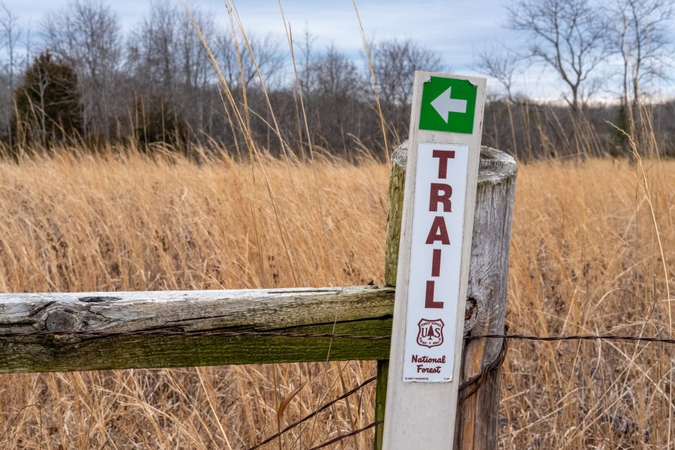 The Trail Goes That-a-way. Big bold signs at the start of the trail to lure in the unwary. There is minimal signage on the trails and I only noticed one blaze. Copyright © 2020 Gary Allman, all rights reserved.