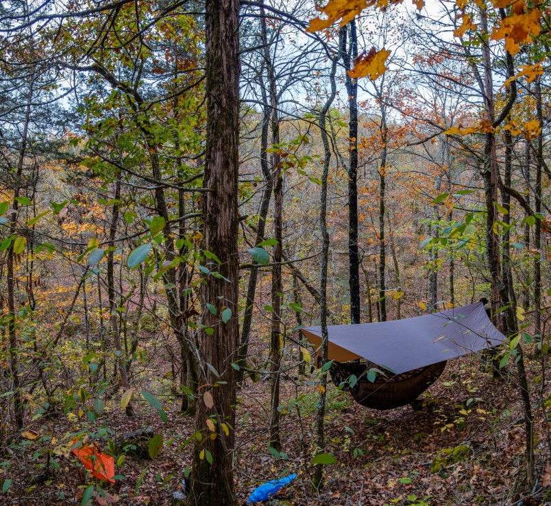 Camped overlooking 'Twin Falls Creek' - Hercules Glades Wilderness - Day Three. Copyright © 2020 Gary Allman, all rights reserved.