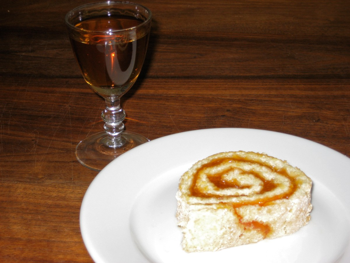 Image of Apricot Jellyroll with a glass of Benedictine