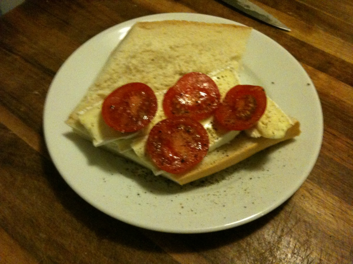 Image Of Cheese and Tomato Sandwich