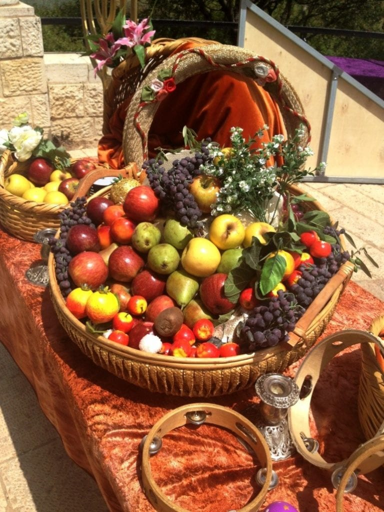 A sampling of the first fruits of the agricultural cycle that regular Jews brought as an offering to the Temple. (Photo: Yisrael Rosenberg/ Breaking Israel News)