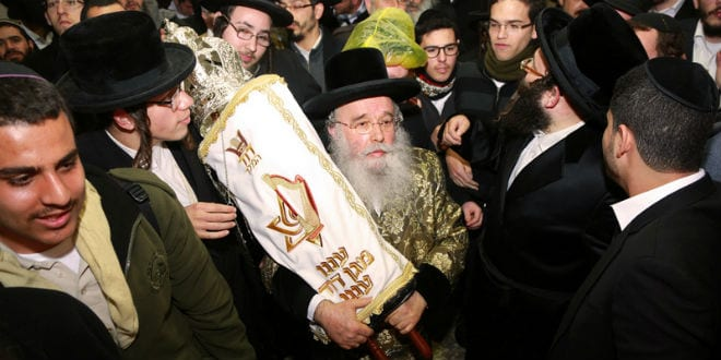 The completed Torah scroll is carried from the Western Wall to David's Tomb (Photo: David's Tomb/Rabbi Yosef Berger)
