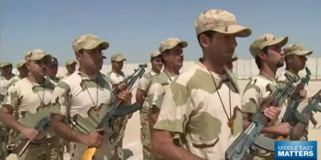 Members of the Christian Babylon Brigade train for battle with ISIS. (YouTube Screenshot)