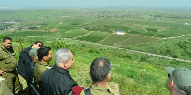 Israeli prime minister Benjamin Netanyahu seen during a security and defense tour in the Golan Heights, near the Northern Israeli border with Syria. April 11, 2016. (Photo: Kobi Gideon/GPO)