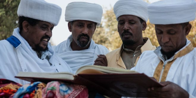 Kessim, religious leaders of the Ethiopian Jews, prepare for the Sigd prayers - Oct. 31, 2013 in Jerusalem, Israel. The Sigd is an annual holy day of the Ethiopian Jews. (Photo: RnDmS / Shutterstock.com)