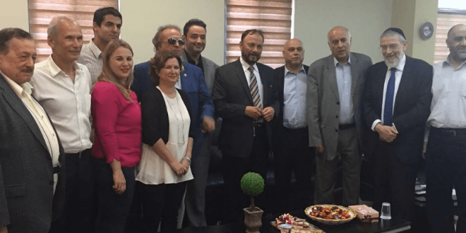 Former Saudi general Dr. Anwar Eshki (center, in striped tie) and other members of his delegation, meeting with Israeli Knesset members and others during a visit to Israel on July 22, 2016 (Photo: Twitter)