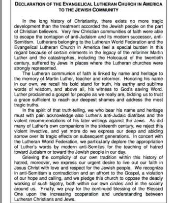 "Text of the 1994 ""Declaration of the Evangelical Lutheran Church in North America to the Jewish Community,"" in which the Lutheran Church repudiated Martin Luther's anti-Semitic writings. (Screenshot from ELCA.org)"