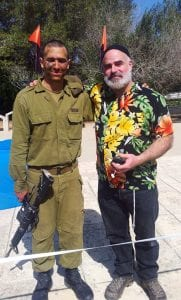 Jesse Socher and his son, in an IDF uniform. (Courtesy Jesse Socher)
