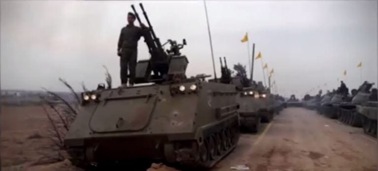 Hezbollah  parading US made M113 APC's in Syria (Youtube video capture)