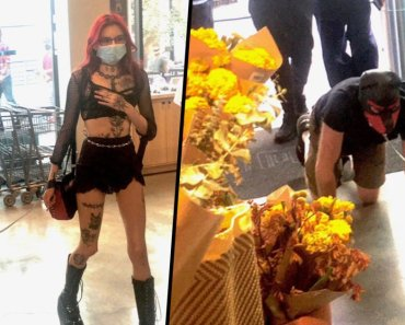 Dominatrix Spotted Walking Man On Leash in Supermarket