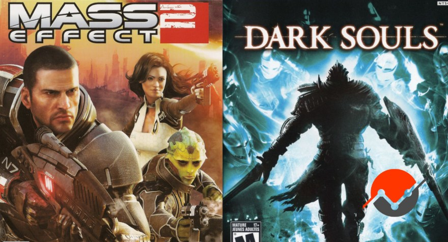 Composite image for the covers of Mass Effect 2 and Dark Souls, two games that featured expert positioning