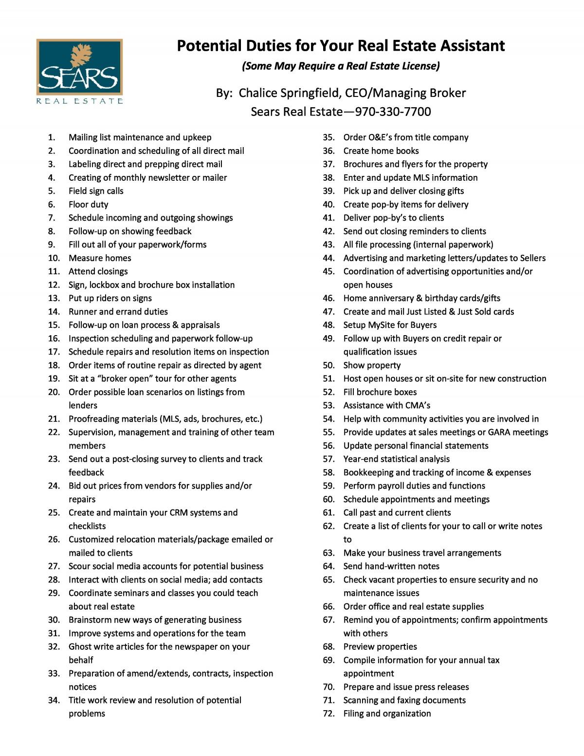 Real Estate Assistant Task Checklist
