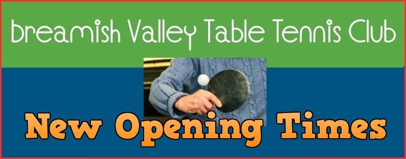 Breamish Valley Table Tennis Club new opening times header