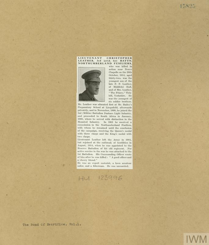 LEATHER Christopher - newspaper cutting c. IWM