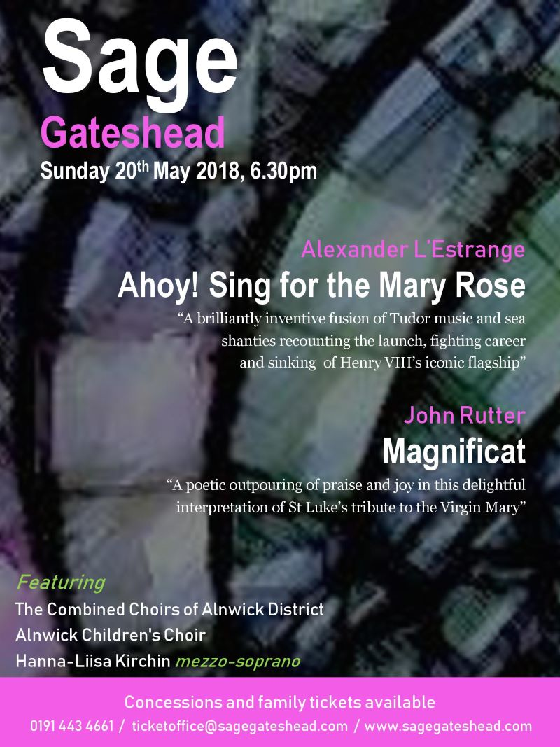 Alnwick Sings May 2018 poster